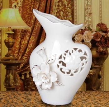 供应捏花镂空描金小花瓶 欧式家居装饰品 陶瓷花瓶花器