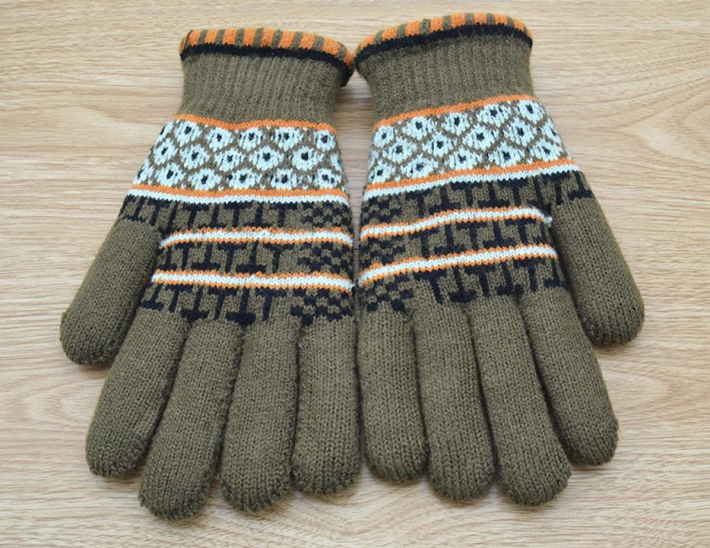 男大提花双层五指手套b-1557s