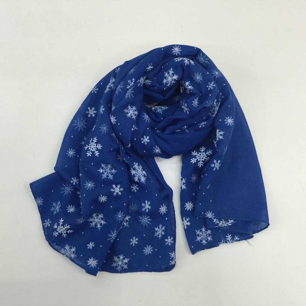 欧系发泡单色+雪花印花棉围巾