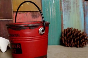 红色铁桶水泥花盆 多肉植物花盆