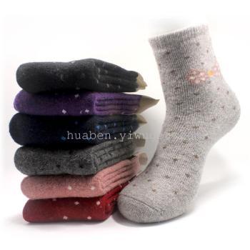 Wool Terry padded ladies socks in stock trade