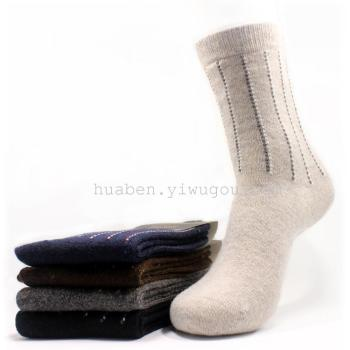 Wool Terry padded men's socks in stock trade