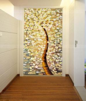 走廊玄关背景墙壁纸现代欧式墙纸油画大型壁画发财树