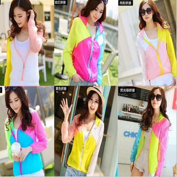Korean version of mosaic sun protection clothing transparent Cardigan spell color SPF shirt air-conditioning jacket