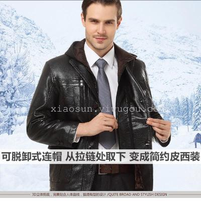 Middle-aged men's Hooded leather and velvet padded men's leather jackets leather