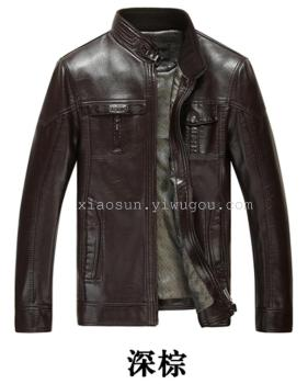осень / зима нового стиля мужчин кожа мужчин кожаные плюс случайный мужчин среднего возраста мужчины меньше размера тонкой пальто