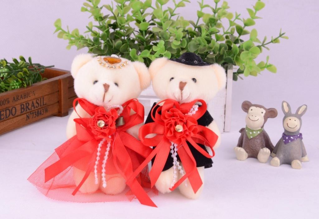 新款婚纱情侣熊关节熊可爱毛绒小熊挂件花束婚庆熊