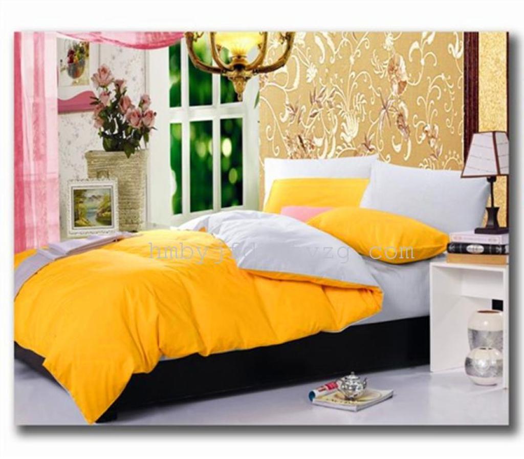 全棉斜纹 素色拼色四件套纯棉撞色床单被套床上用品特价239元