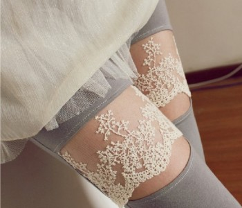 Spring explosion models love the Korean version of laugh modal lace knee pants leggings