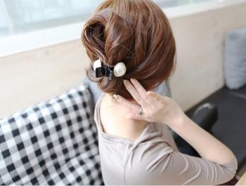 流行韩版香蕉夹优雅小香风大珍珠盘头发抓爪夹头饰品