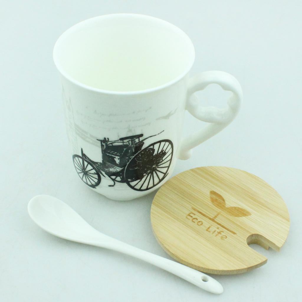创意马克杯 牛奶杯 茶杯 带杯盖汤匙 复古三轮车图案杯子