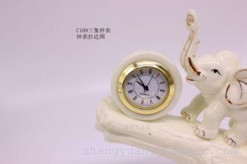 欧式家居装饰工艺品三象钟表摆件客厅电视柜酒柜