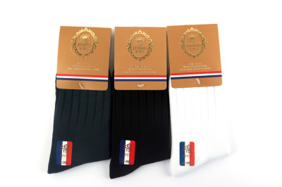 King bone suture-free comfort breathable cotton knit tri-color male socks 12 pairs 085