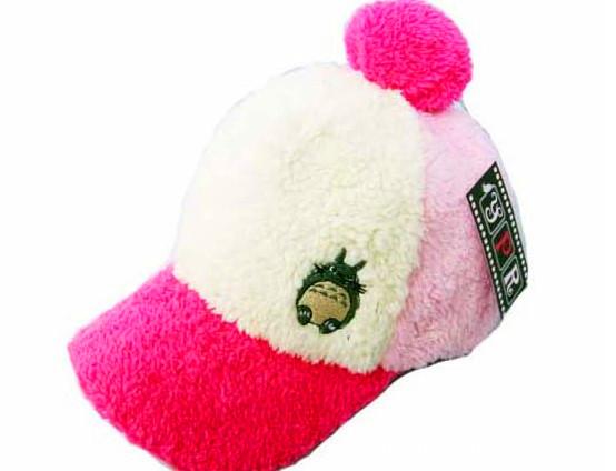 韩版冬天毛线帽子 女士棒球帽绒线帽 绒猫龙猫_君飞