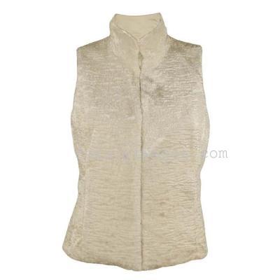 Plush faux fur vest women's clothes in beige faux fur coat new style t-vest