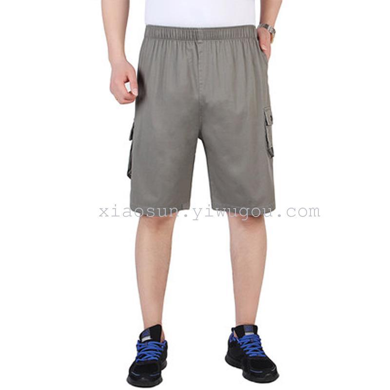 中年男中裤加大码休闲沙滩裤 男装松紧棉5五分裤短裤