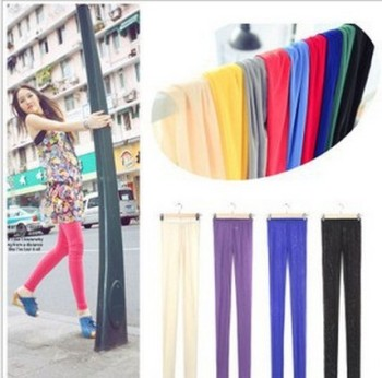 High quality Korean version of the slim light gauze pants colored Candy-colored leggings