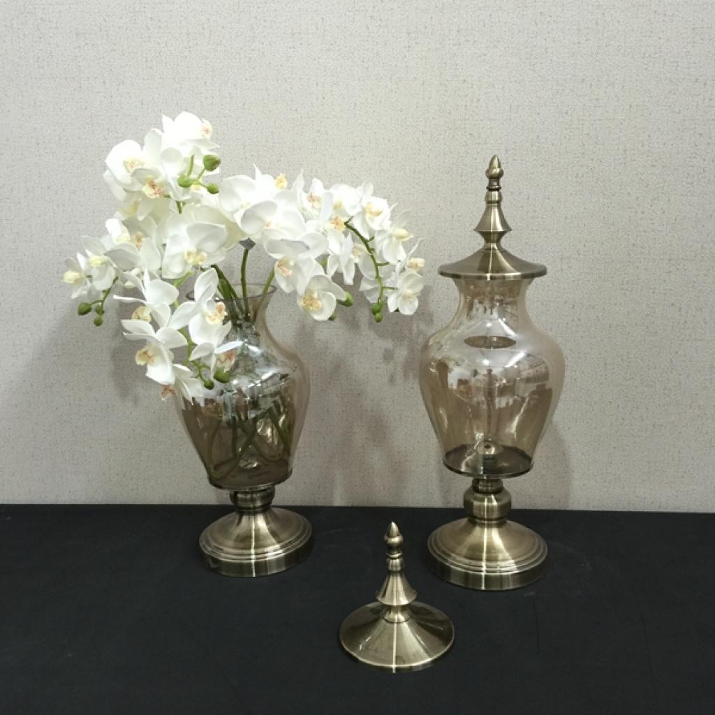 样板间家居饰品装饰品客厅玻璃摆件花瓶现代新古典