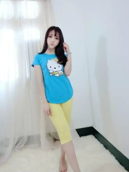 Foreign trade original new HelloKitty summer ladies short sleeve cropped pants pajamas, sleepwear and loungewear