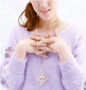 The owl sweater chain long spring retro high-grade opal
