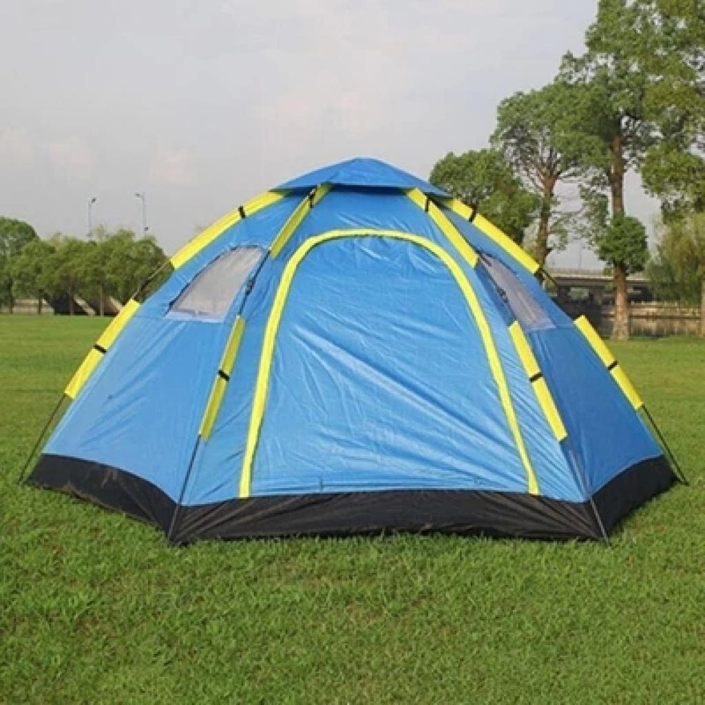 六角3-4人双层自动帐篷户外野营免搭建帐篷