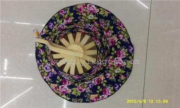 折叠双用竹柄扇帽可当扇子防紫外线太阳帽子