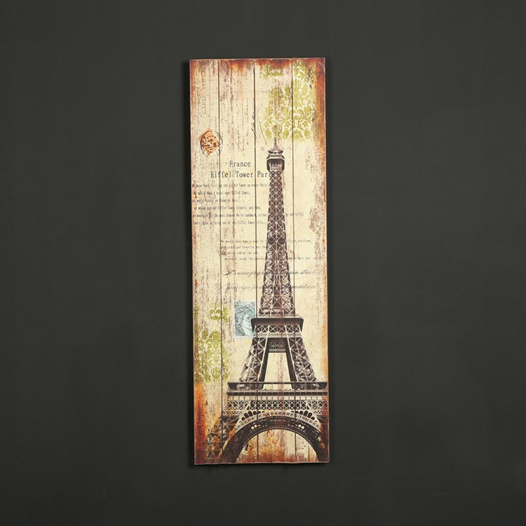咖啡馆酒吧专用 欧式复古风格巴黎铁塔图案实木板