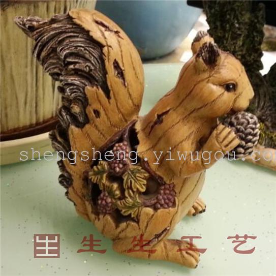 树脂写实动物工艺摆件 萌物 松鼠2084-2