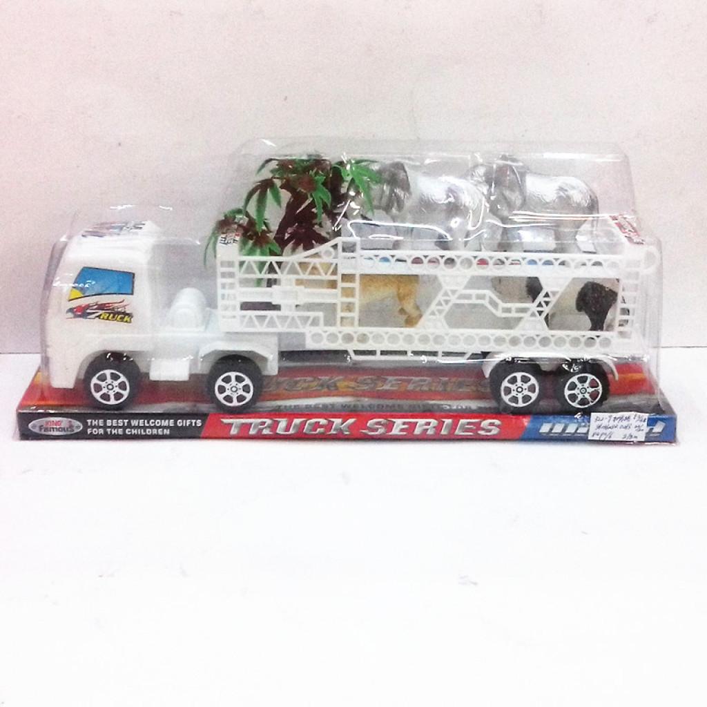 p罩儿童玩具塑料惯性玩具拖车载三只小动物 拖车玩具
