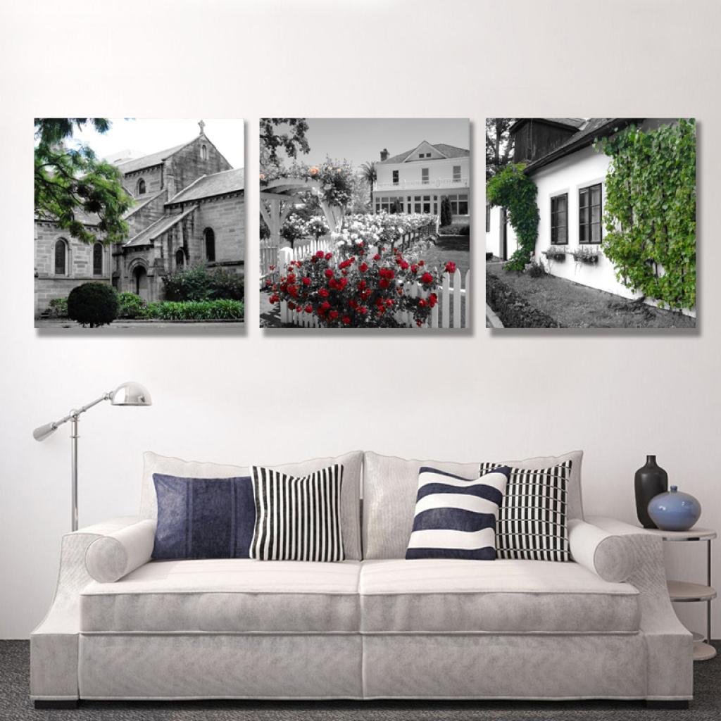欧式建筑物装饰画客厅沙发壁画背景墙挂画