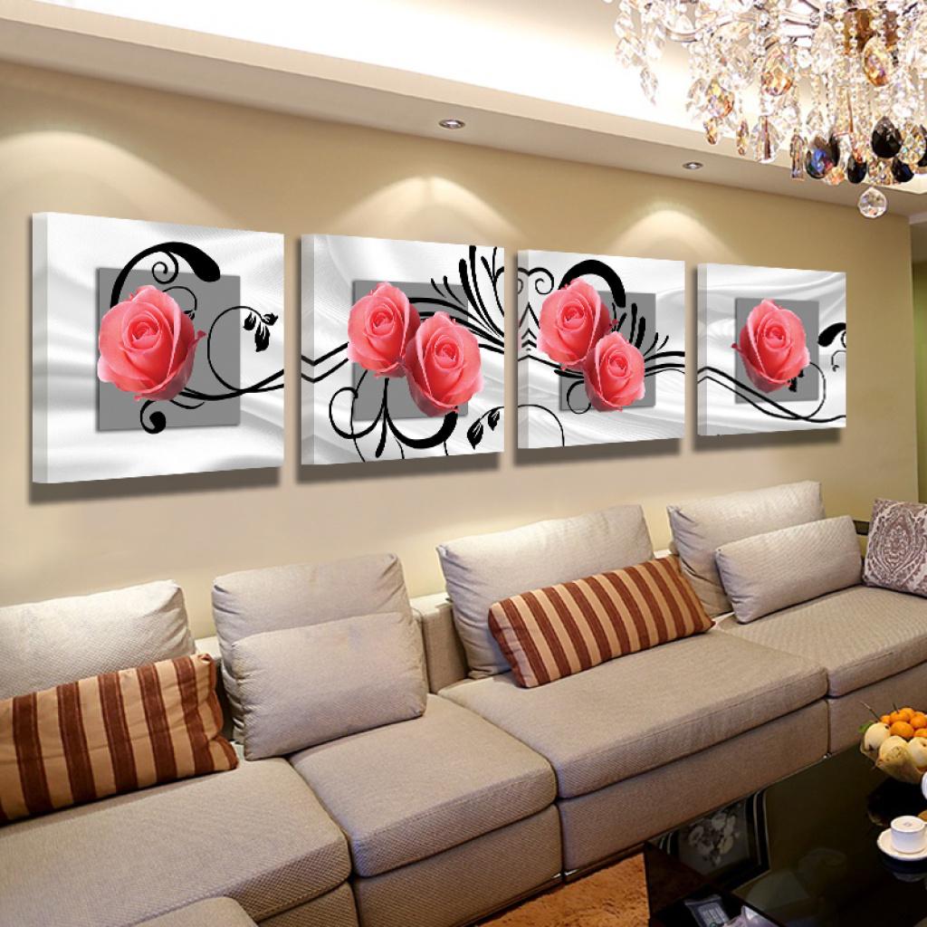 百合花卉风景客厅装饰画沙发背景墙画