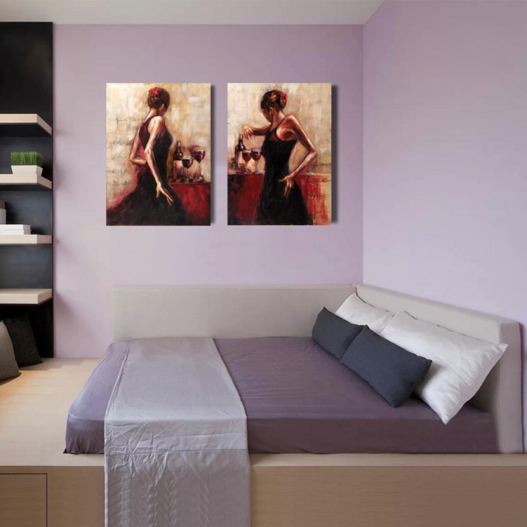 欧式人物卧室床头挂画客厅壁画无框冰晶画