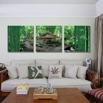 风景花卉画卧室床头画无框玻璃冰晶画