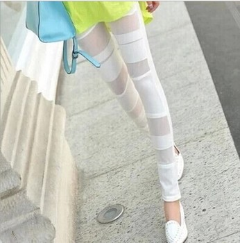 Spring's new Candy-colored mesh bound feet pants tight slim leggings