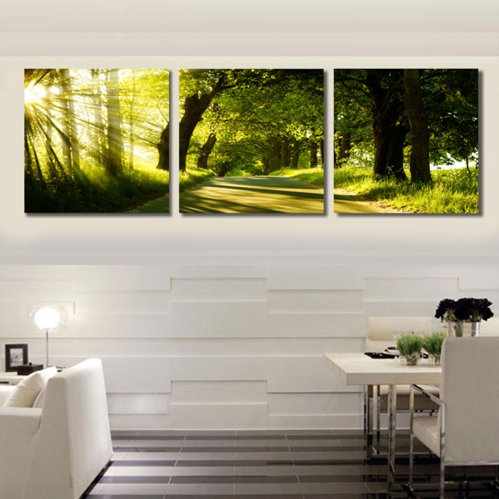 风景客厅沙发背景墙画无框挂画参天大树