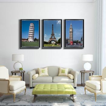客厅装饰画书房挂画带框冰晶画欧式建筑画面斜塔