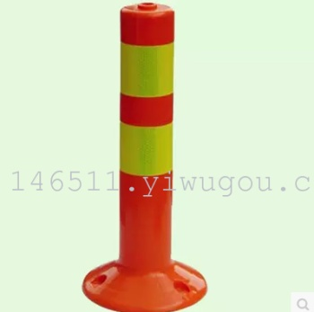A blue and white warning warning column column column elastic column guide column safety isolation signpost