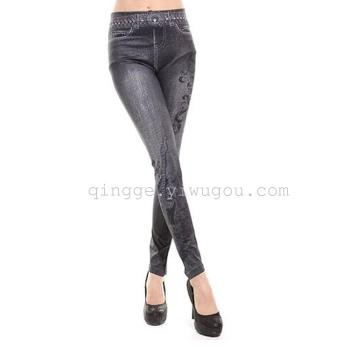 Korean self slim denim print jeans hole in the snow-like feet pants