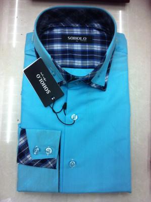 2015 fashion tailor collar men's long sleeve shirts leisure slim shirt