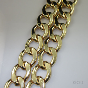 Factory supply high quality electronic aluminium chain, gold-coloured aluminium chain necklace bracelet chain