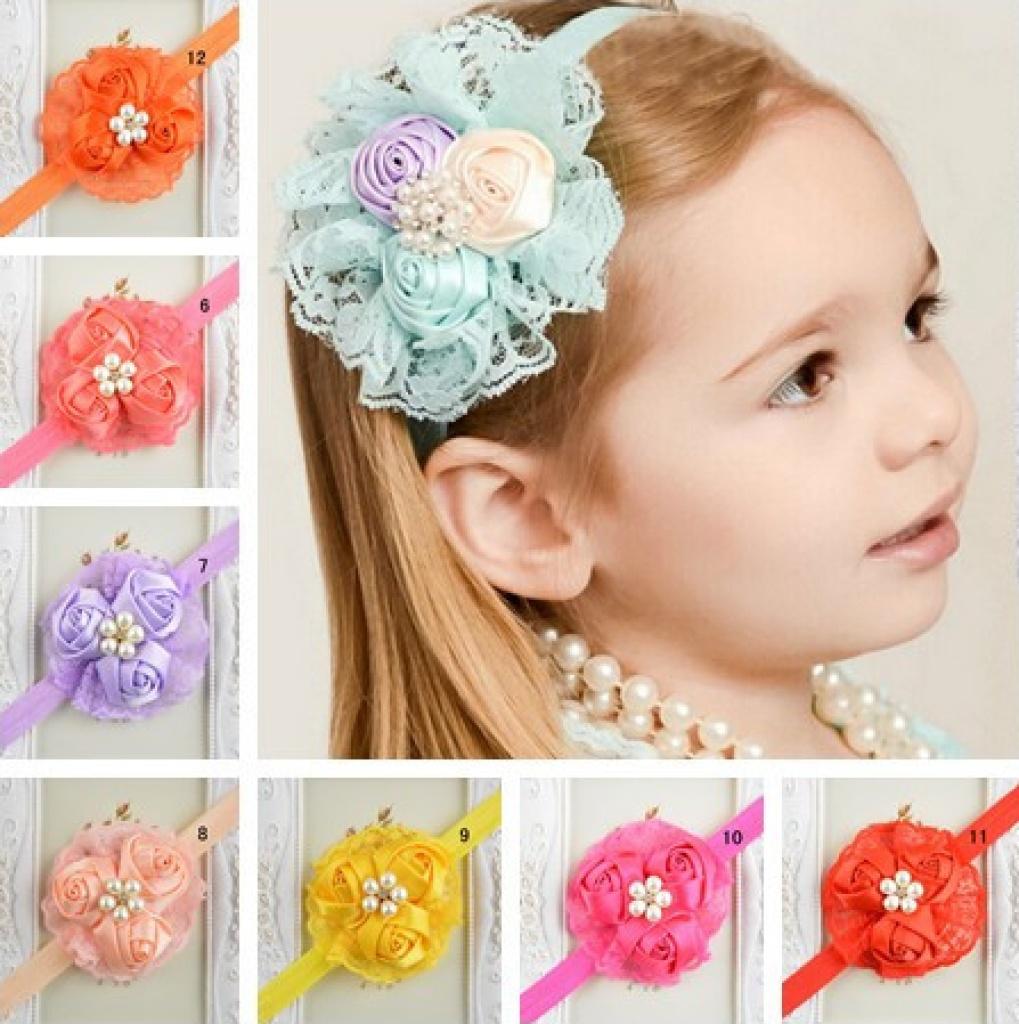 最新欧美儿童发带 玫瑰花苞蕾丝宝宝头带头饰 12色可选