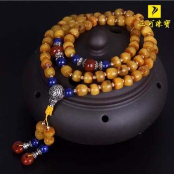 Natural honey wax original hand chain wheel bead flat old wax wax beads multilayer bracelet