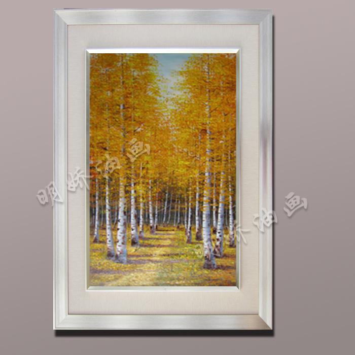 欧式风景黄金大道装饰画玄关白桦林纯手工绘油画
