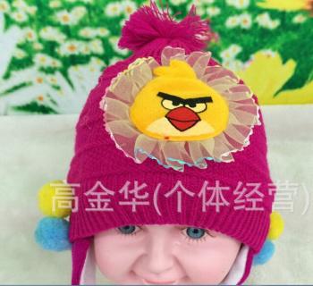 可爱卡通baby帽子愤怒的