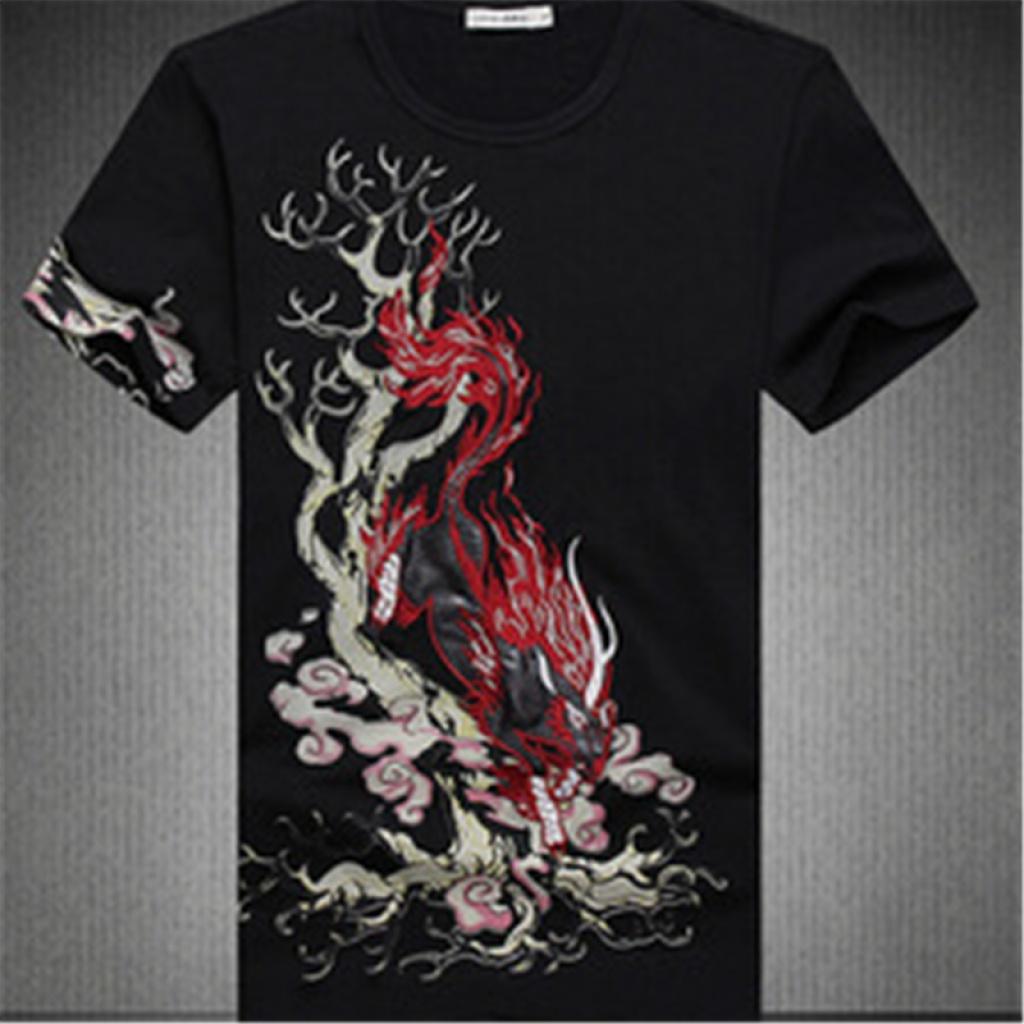 中国风有大码麒麟圆领刺绣花短袖t恤