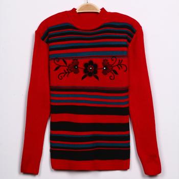 Thickening 2015 elderly dress mother dress striped print sweater Cardigan