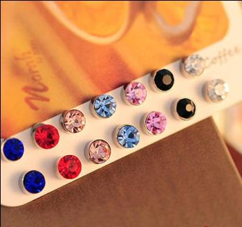Magnet magnet magnetic Stud Earrings non-pierced ears small clip color diamond 5mm