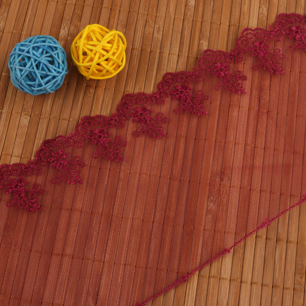 深红色立体大花朵网布刺绣蕾丝花边衣服布料配饰