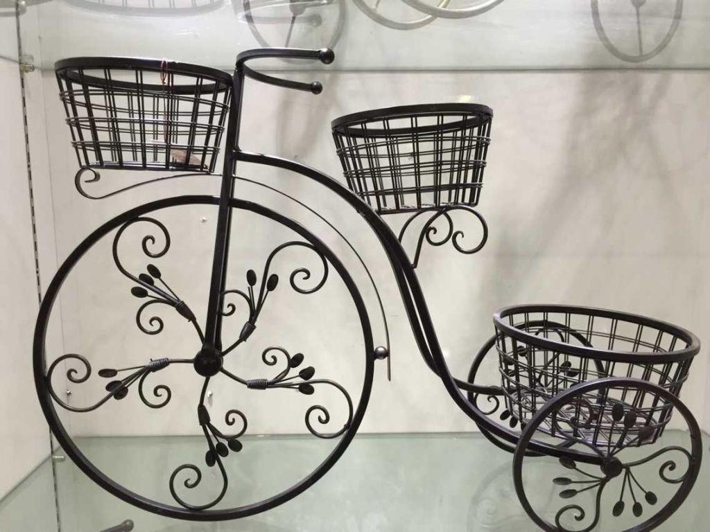 欧式铁艺花架 阳台客厅自行车落地三层花盆架子 花蕾小花车