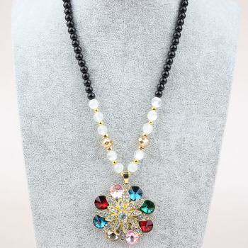 Full rhinestone long colorful flowers necklace sweater chain beads hanging crystal accessories